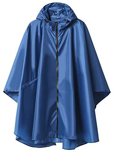 Poncho Pioggia Impermeabile per Adulti Multiuso Mantella Antipioggia con Cappuccio Blu Scuro