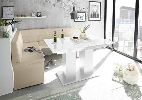 Reboz Eckbankgruppe Creme Beige Eckbank Esstisch Weiß Kunstleder 128 x 168 cm Hochglanz (128 x 168 cm Links)