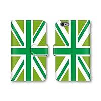 【ノーブランド品】 ARROWS X F-02E スマホケース 手帳型 ユニオンジャック イギリス国旗 グリーン かわいい おしゃれ 携帯カバー F-02E ケース