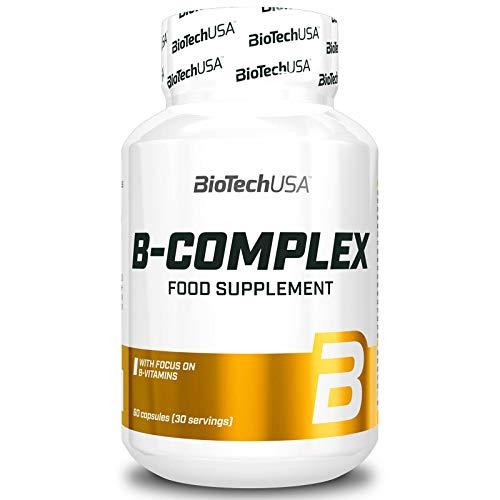 Vitamin B-Complex | Complemento alimenticio | Contiene Vitaminas B6 B12 Biotina y Ácido Fólico | Aumenta la inmunidad (60 cápsulas = 1 botella)