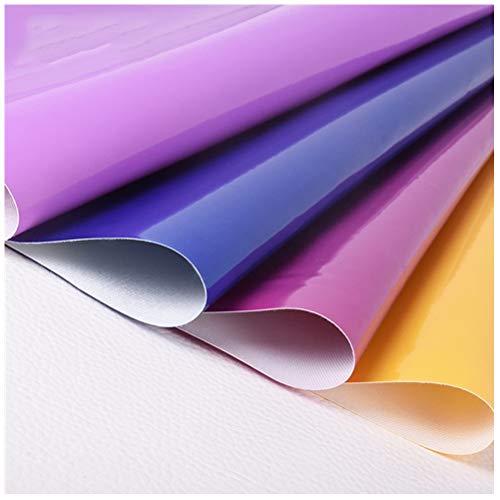 Tapicería de Piel Sintética Tejido de Piel Sintética, para la Decoración del Interior del Coche Sofá Bolsa de Renovación Regalos - Material Charol 1,38x1m(Color:Cerámica Amarilla)