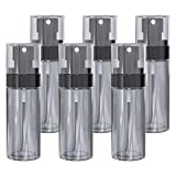 zelaxy Spray Bottle,6 Pack Small Travel Spray Bottle 2 oz/60ml,Fine Mist Plastic Empty Spray Bottle for Essential Oils, Aromatherapy, Perfumes, Cleaning Products (clear black)
