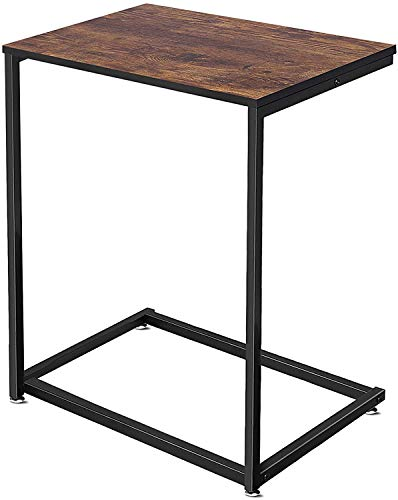 Side Table C-Shaped, Small Sofa End Tables Coffee Table for Living Room, Bedroom, Balcony, Office, Industrial Style Rustic Wood, Finish Steel Construction 26-Inch
