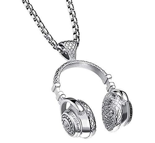 PAURO Hombre Acero Inoxidable Música Auriculares Auriculares DJ Biker Collar Colgante, Plata, Pequeño