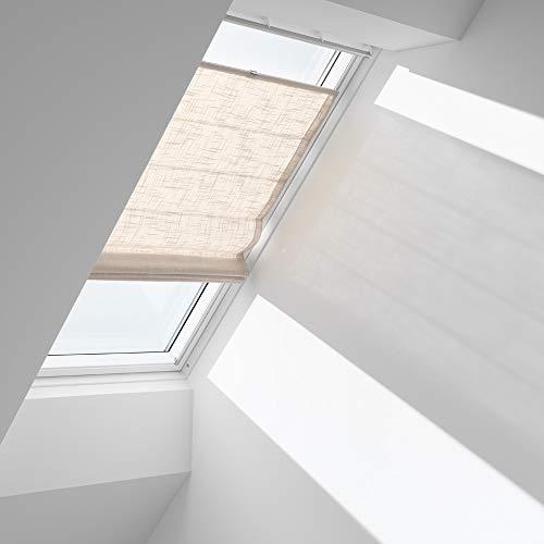 Orignal VELUX Raffrollo FHB SK08 6504 / Bedienart : Manuell / Farbe : Dekor Hellsand / Fenstergröße : SK08 / Fenstertypen : GGU, GGL, GPU, GPL, GTU, GTL, GXU, GXL _13420