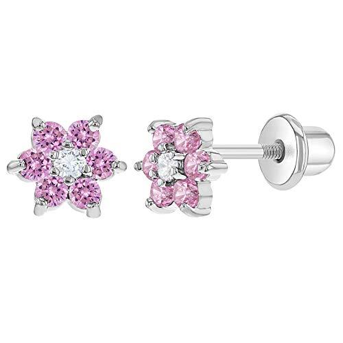 In Season Jewelry - Baby Mädchen - Schraubverschluss Ohrringe Blume Rhodiniert Rosa und Klar Kristall 5mm