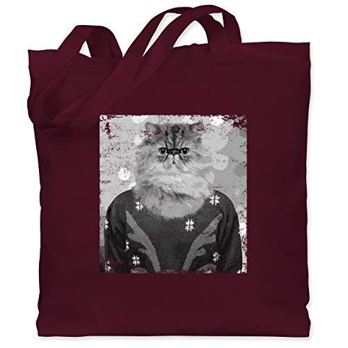 Weihnachten & Silvester - Ugly Christmas Sweater Katze Vintage Effekt - Unisize - Bordeauxrot - Vintage - WM101 - Stoffbeutel aus Baumwolle Jutebeutel lange Henkel