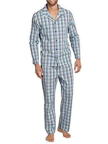 Seidensticker Herren Pyjama lang Zweiteiliger Schlafanzug, Blau (Blau 800), Small (048)