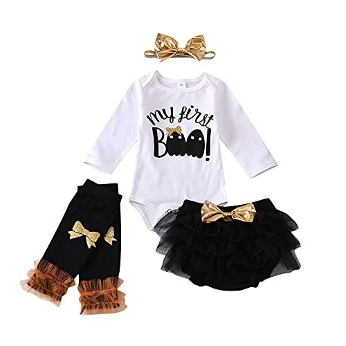 BIBOKAOKE Conjunto de ropa de 4 piezas para bebé niña, body top, pelele + falda tutú de princesa + cinta para la cabeza + calentadores de piernas Set regalo ropa festiva Romper suave Baby Set