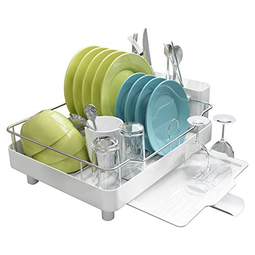MAJALiS Dish Drying Rack, Deluxe Stainless Steel Rustproof Dish Rack Drainer, Large Capacity Sink Dish Drying Rack with Removable Utensil Holder and Adjustable Drain Spout (White)