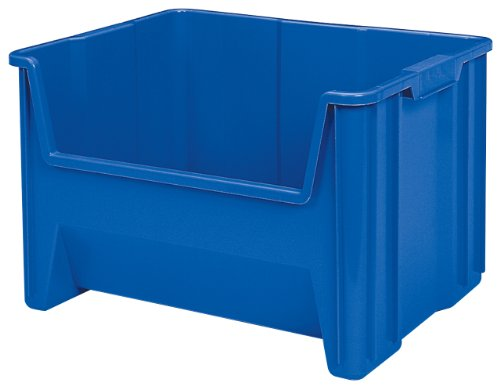 Akro-Mils 13017 Stack-N-Store Heavy Duty Stackable Open Front Plastic Storage Container Bin, (15-Inch x 20-Inch x 12-1/2-Inch), Blue, (3-Pack)