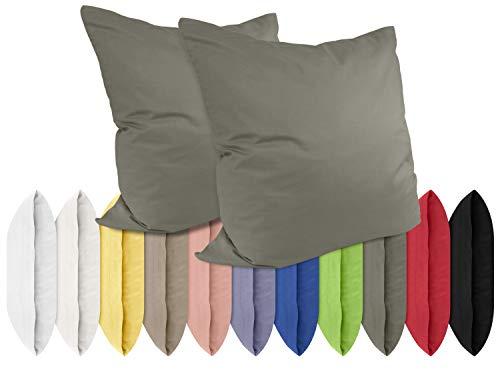 npluseins Renforcé-Kissenbezüge im Doppelpack - 100% Baumwolle – schlicht und edel im Design, in 11 Uni-Farben, 80 x 80 cm, stahlgrau