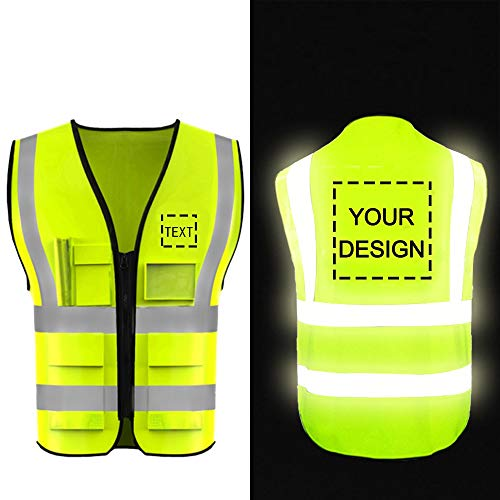 Kamizelka bezpieczeństwa o wysokiej widoczności dostosuj swoje logo ochronna odzież robocza 5 kieszeni z paskami odblaskowymi na zewnątrz kamizelka robocza (żółta XL)