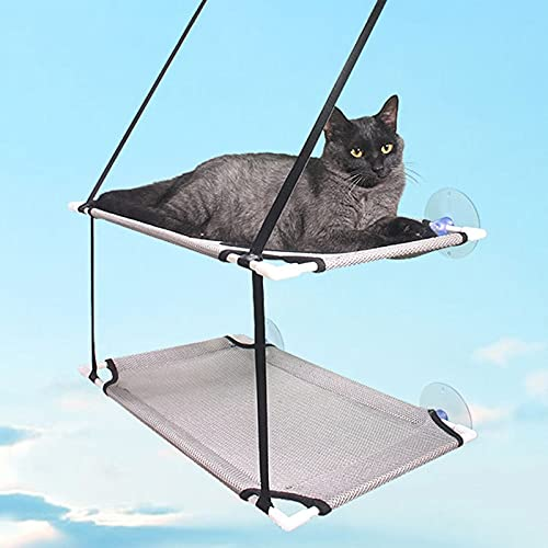 Shoplifemore Hamaca para ventana de gato, cama doble capa, hamaca para gato, asiento de descanso, cama colgante para tomar el sol (51 x 31 cm, doble capa gris)