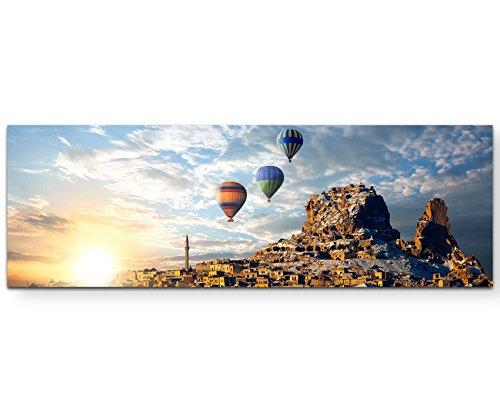 Paul Sinus Art Leinwandbilder | Bilder Leinwand 120x40cm Bunte Heißluftballons über Kappadokien