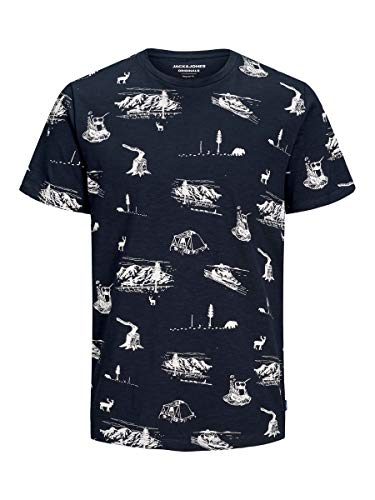 Jack & Jones Outdoor Print - Camiseta para hombre Azul (Navy Blazer/Reg). XL