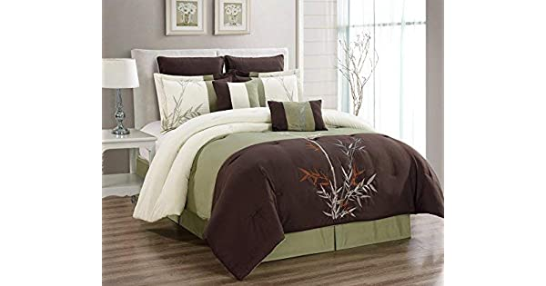 King Size Bedding 106X94 Masterplay 8 Piece Oversize Brown//Beige//Sage Green Tropical Bamboo Tree Embroidered Luxury Comforter Set California Cal