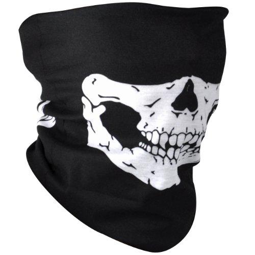 Foulard bandana noir avec design crâne pour le ski, le snowboard, le bmx, le vélo, le paintball, le karting - par TRIXES
