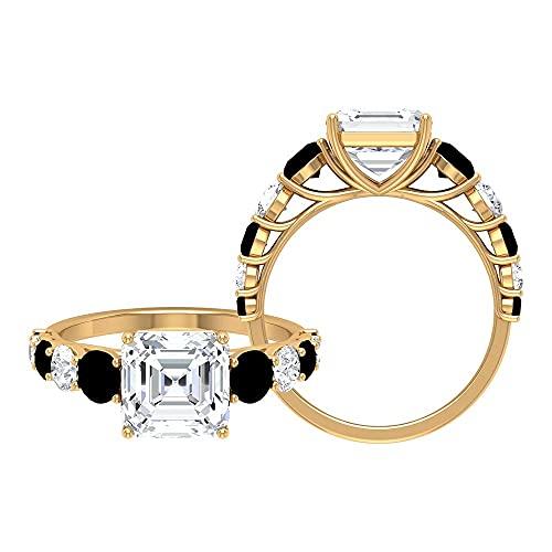 Anillos de compromiso clásicos de 2,50 quilates con moissanita y diamante negro creado (8 mm de talla Asscher Moissanite), 14K Oro rosa, Size:EU 53