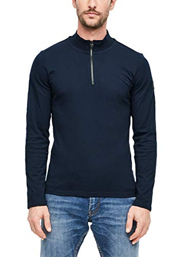 s.Oliver Herren Langarmshirt mit Zipper Blue 3XL