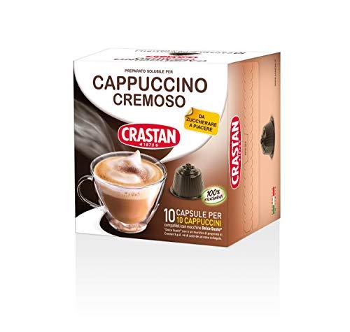 Crastan Capsule Compatibili Dolce Gusto, Cremoso, Cappuccino, 10 Confezioni da 10 Capsule, 100 Unità
