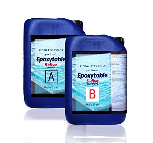 9 KG Epoxytable Resina Epossidica per Tavoli, Colate Alte fino 5 cm, Atossica, Trasparente, Bicomponente, Creazioni di Tavoli in Legno e Resina, Rivestimento Superfici