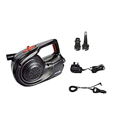 Airflow 400 litres per minute. 2 adaptors included. Running time 20mins. Rechargeable (included) . Mains charger. Car charger adaptor. This pump is ideal for inflation and deflation of airbeds, toys and other items. Electrically powered, it gives off...