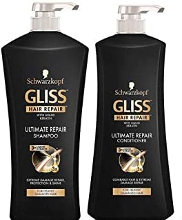 Gliss Ultimate Repair Shampoo & Conditioner by Schwarzkopf Hair Repair Set for Combable & Heavily Damaged Hair - 25.4 Fl Oz Shampoo + 25.4 Fl Oz Conditioner