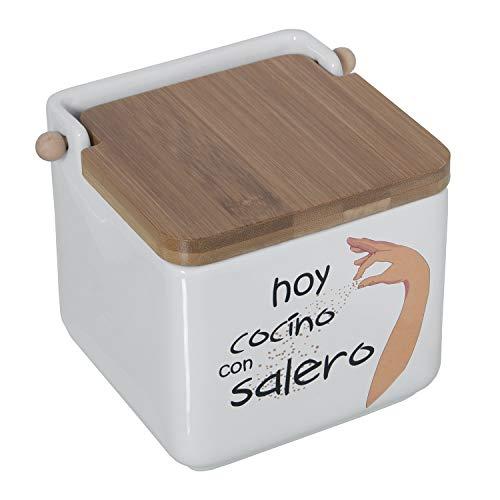 DRW Salero Original cerámica Cuadrado con Tapa bambú 12x12x12 cm (Hoy cocino con salero)