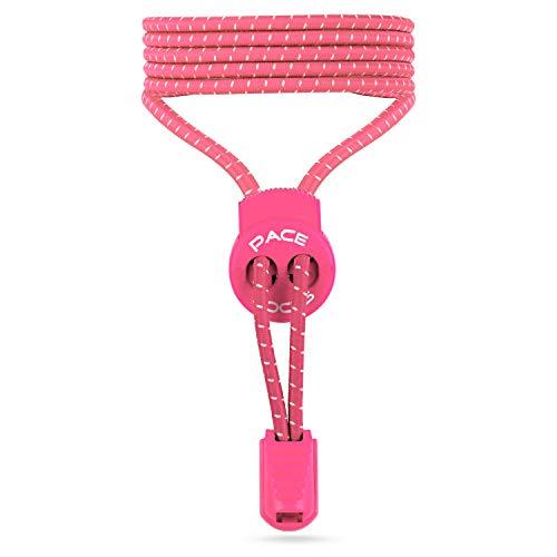 ALPHAPACE Pace Locks Elastische Schnürsenkel, Schuhbänder ohne Schnüren, Slip-on Schnellverschluss für Sport, Jugend & ältere Menschen, 120 cm, 1-Paar in Pink