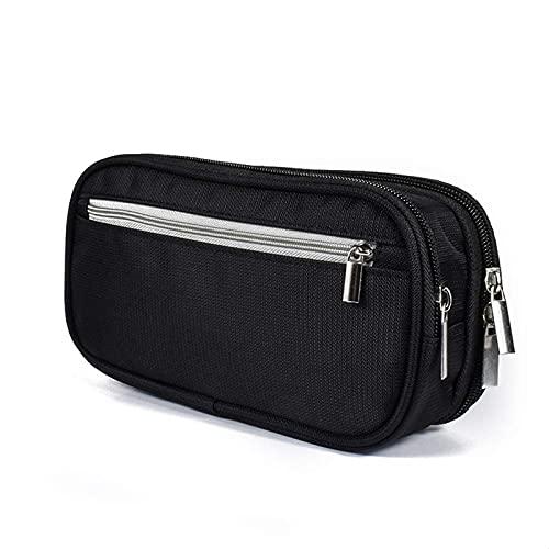 Estuche de gran capacidad para lápices, organizador de escritorio con bolsa de artículos de tocador de viaje negro