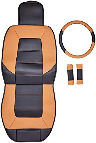 Amazon Basics Deluxe Sideless Universal Fit Leatherette Seat Cover Set with Wheel Cover and Seatbelt Pads, Black and Brown