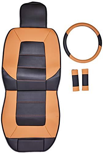 Amazon Basics - Juego Deluxe de fundas de asiento de cuero sintético, tamaño universal, sin laterales, con cubierta para volante y almohadillas para cinturón de seguridad, negro y marrón