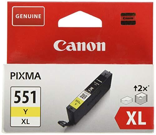 Canon CLI-551XL Y Cartucho de tinta original Amarillo XL para Impresora de Inyeccion de tinta Pixma MX725-MX925-MG5450-MG5550-MG5650-MG6350-MG6450-MG6650-MG7150-MG7550-iP7250-iP8750-iX6850