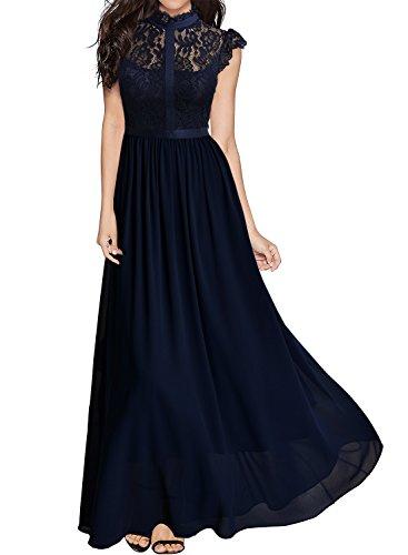MIUSOL Damen Elegant Spitzen Abendkleid Brautjungfer Cocktailkleid Chiffon Faltenrock Langes Kleid Dunkelblau M