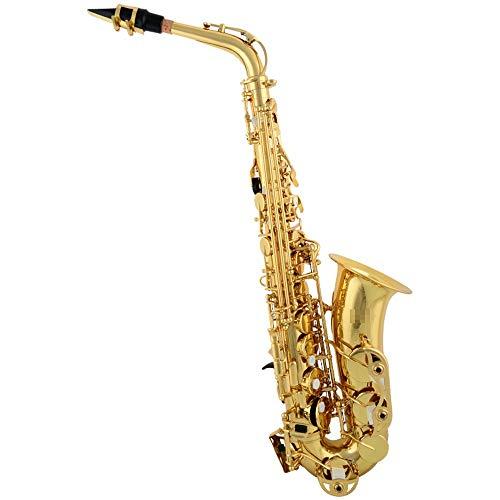 KDOAE Saxofón Lacado E-Flat saxofón de Oro con el Caso, Correas, Boquillas, Guantes, paños, lubricantes, Las Correas del Cuello Handheld Portátil (Color : Gold, Size : M)