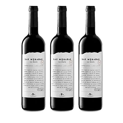 Vino Tinto Las Luces de 75 cl - D.O. Madrid - Bodegas Las Moradas de San Martin (Pack de 3 botellas)
