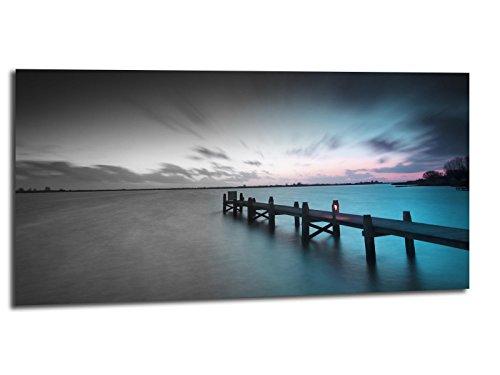 Alu-Dibond Bild ALU100501048 STEG ROMANTIK TÜRKIS 100x50cm ROMANTIK Metallbild, gebürstete Oberfläche (Butlerfinish©), INKL. Aufhängesystem-Set