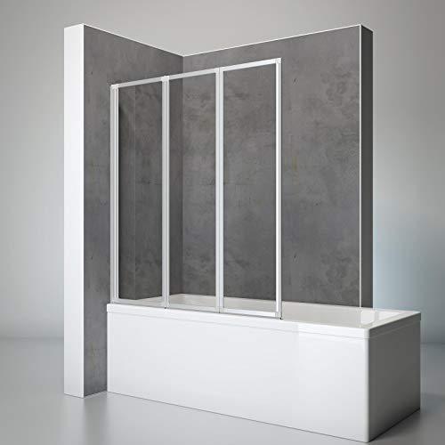 Schulte D1300 01 50 Duschwand Well, 127 x 140 cm, 3-teilig faltbar, 3 mm Sicherheitsglas Klar hell, alu-natur, Duschabtrennung für Wanne