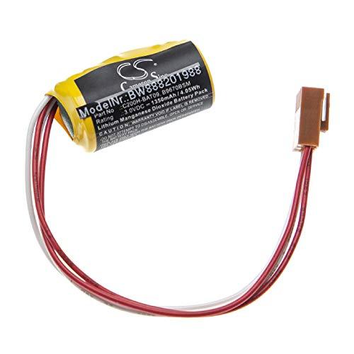 vhbw Batería reemplaza Omron B9670BSM, C200H-BAT09 para Controlador Lógico Programable, PLC (1350mAh, 3V, Li-MnO2)