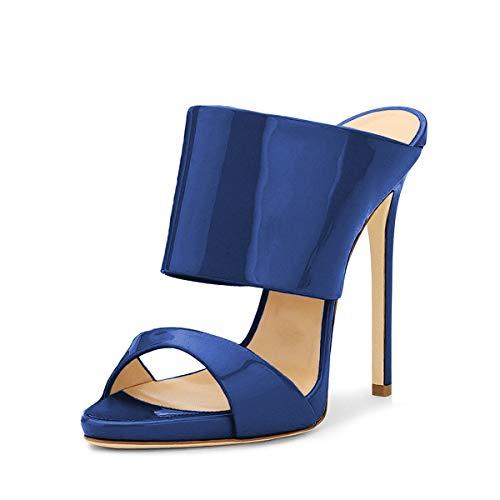 FSJ Women Versatile Open Toe High Heel Mules Backless Shoes Feminine Slingback Stiletto Slide Sandals Slip on Slipper Size 8.5 Navy