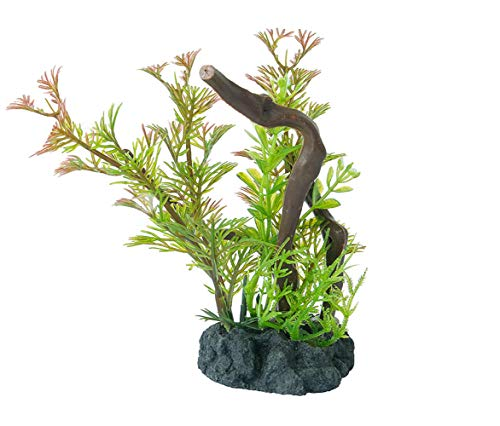 FEDOUR Mini Artificial Manzanita Branch with Weighted Base, Aquarium Plant Plastic Fish Tank Decorative Underwater Grass Mini (Pattern-D)