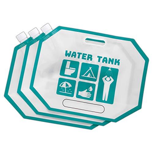 コモライフ コンパクトウォーターバッグ 5L 3個セット 災害用 給水タンク 給水袋 給水バッグ コンパクト アウトドア 約29×38×3cm マチあり 390135