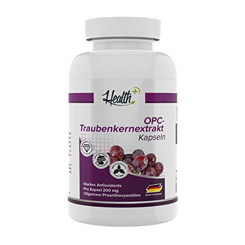 Health+ OPC Traubenkernextrakt - 120 Kapseln mit 200 mg reines OPC Pulver mit 50{3f73583b99ae949370a780bf92b7966b6775f4198fa38cfb62ce8061242c125a} OPC Gehalt, hochdosiert, Premium Qualität aus französischen Trauben, Made in Germany
