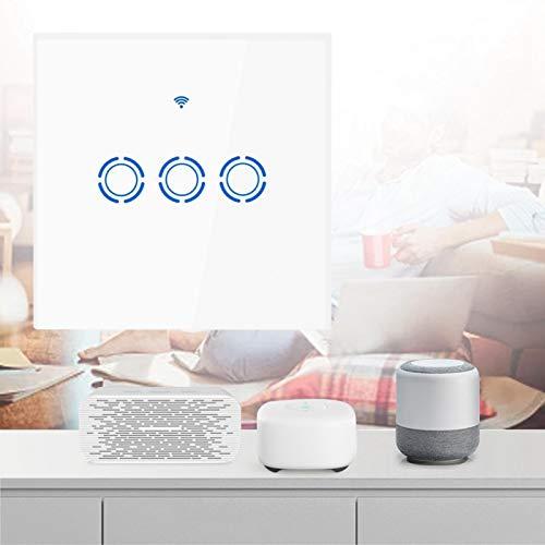 Interruptor de Pantalla táctil inalámbrico de Vidrio Templado Interruptor táctil 22 Idiomas para Google Home Voice Luz de Fondo LED Altamente Sensible(3 Way)