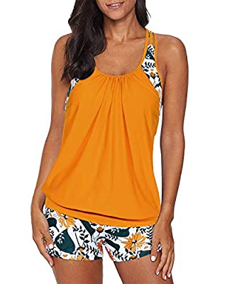 Yonique Blouson Tankini Swimsuits for Women Athletic Two Piece Strappy T-Back Bathing Suits with Shorts Yellow&Floral XL