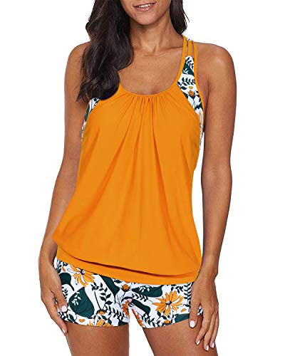 Yonique Tankini Swimsuits for Women Blouson Swim Tops with Boy Shorts Two Piece Bathing Suits Athletic Swimwear Yellow&Floral L