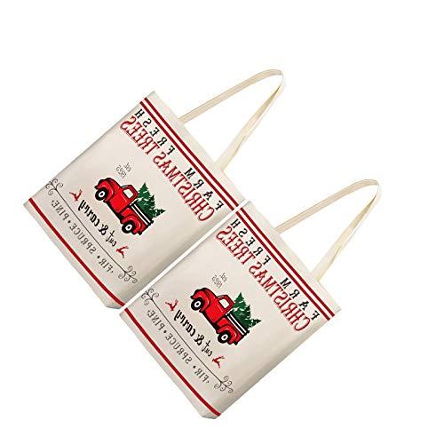 BANGSUN Christmas Tote Bags Trees Farm Fresh Cotton Sacks Bag Reusable Canvas Shoulder 2 Pieces