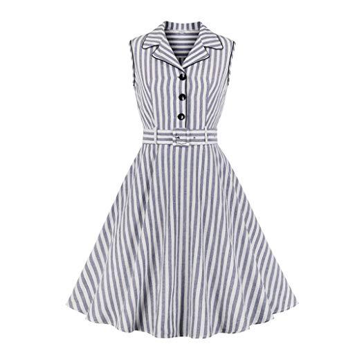 Sonojie Fashion Women Sleeveless V-Ausschnitt Botton Striped Printed Casual Dress