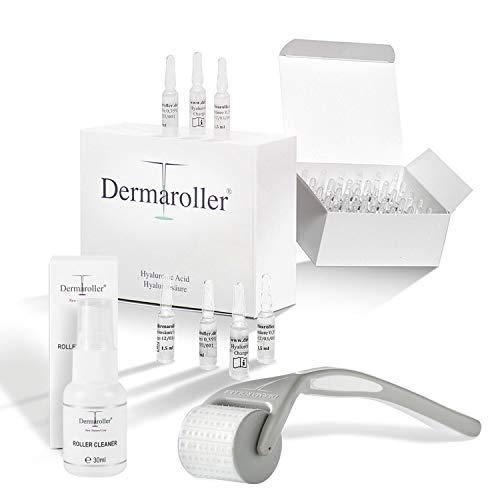 Dermaroller Hyaluron Ampullen + Original Dermaroller HC902 Set FOR FREE, Original Dermaroller, 162 ECHTE NADELN, professionelles Microneedling für zuhause - Nadelroller 0,2 mm für den Körper
